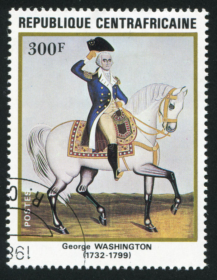 Postage stamp. CENTRAL AFRICAN REPUBLIC - CIRCA 1983: George Washington - first President of the United States of America, circa 1983 stock photo