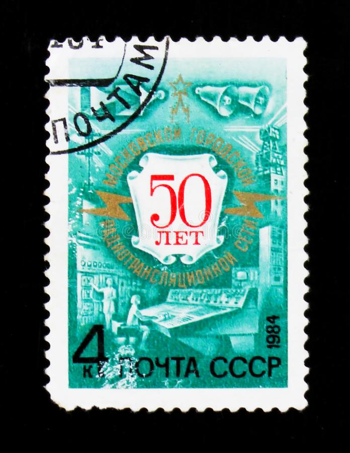 Postage stamp devoted to 50th anniversary of Radio broadcast, circa 1984. MOSCOW, RUSSIA - JUNE 26, 2017: A stamp printed in USSR Russia devoted to 50th stock image