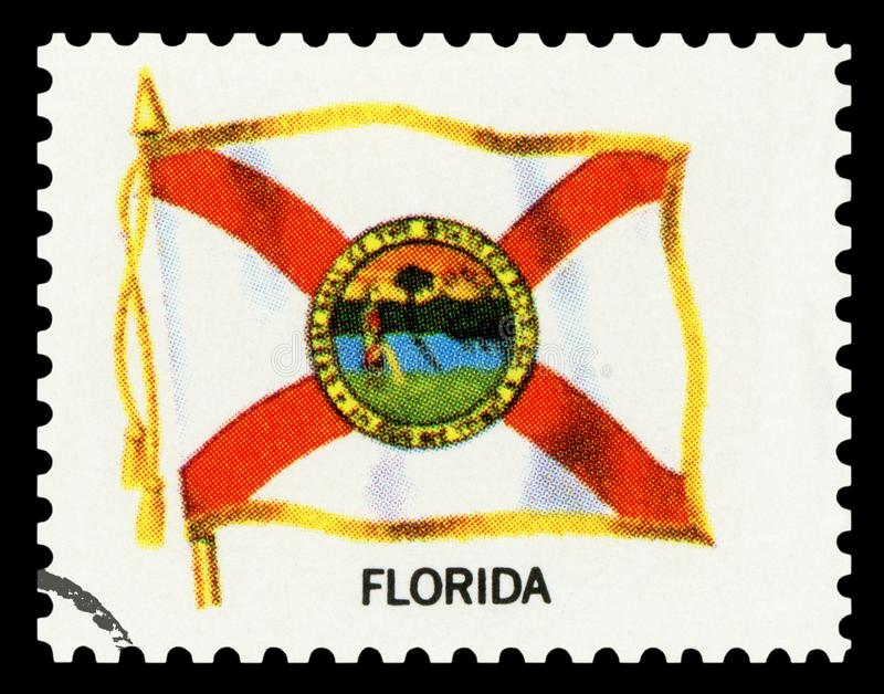 Postage stamp - Flag of FLORIDA State stock photos