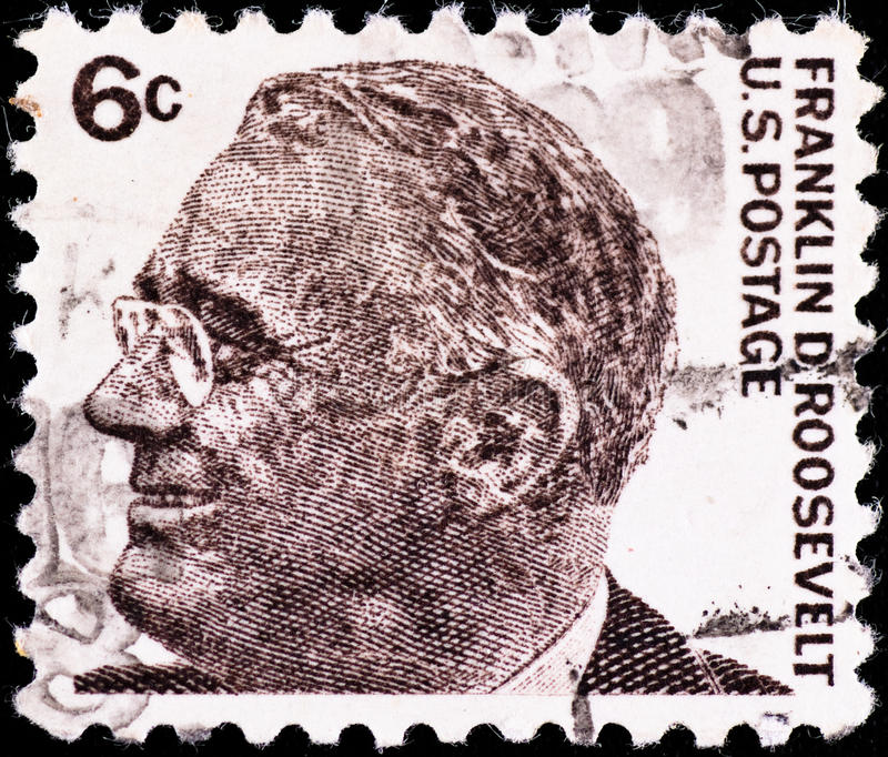 Postage stamp with Franklin Roosevelt. USA - CIRCA 1980's: postage stamp with USA president Franklin Roosevelt, circa 1980's royalty free stock photo