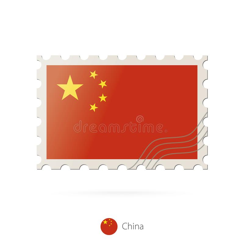 Postage stamp with the image of China flag vector illustration