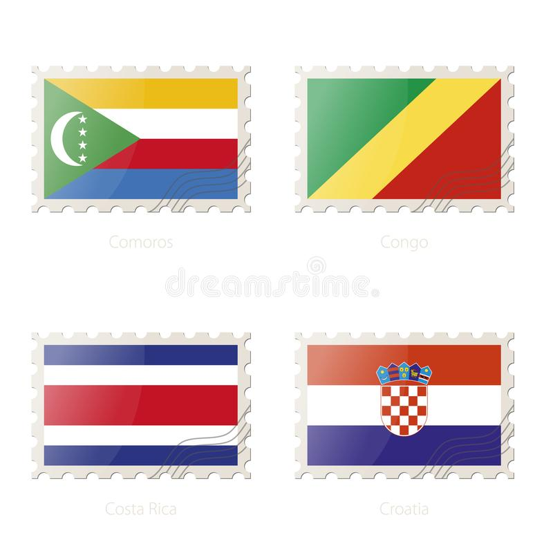 Postage stamp with the image of Comoros, Congo, Costa Rica, Croatia flag royalty free illustration