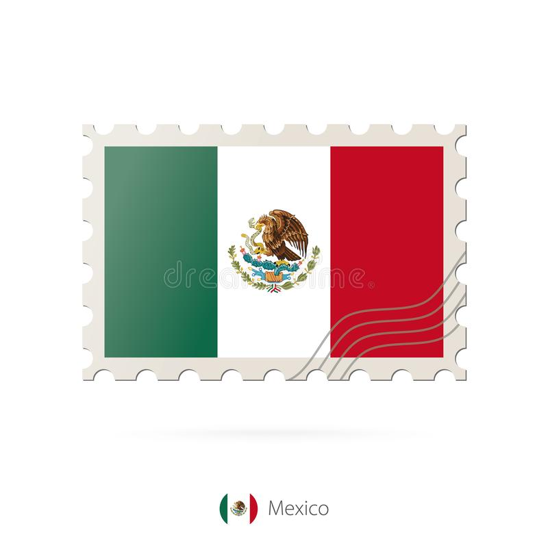 Postage stamp with the image of Mexico flag royalty free illustration