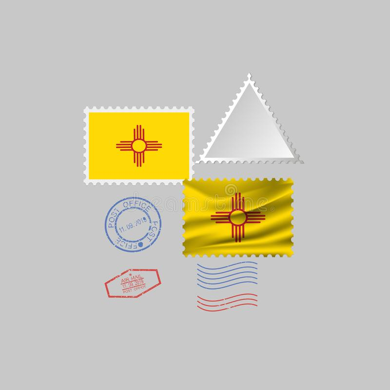 Postage stamp with the image of New Mexico state flag. Vector Illustration stock illustration