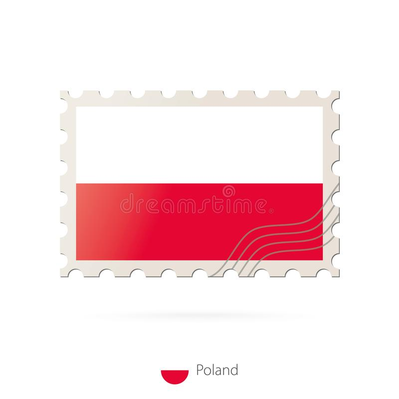 Postage stamp with the image of Poland flag. Poland Flag Postage on white background with shadow. Vector Stamp. Postage stamp and Poland flag. Vector vector illustration