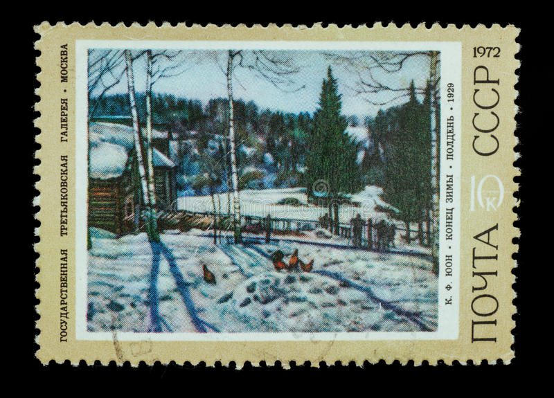 Postage Stamp isolated. TERNOPIL, UKRAINE - OCTOBER 19, 2016: The postal stamp printed in USSR is shown by the K. F. Juon The end of winter. Midday , CIRCA 1972 royalty free stock images