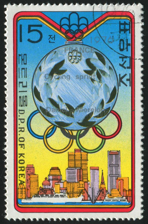 Postage stamp. KOREA - CIRCA 1976: stamp printed by Korea,  shows olympic medal, circa 1976 royalty free stock image