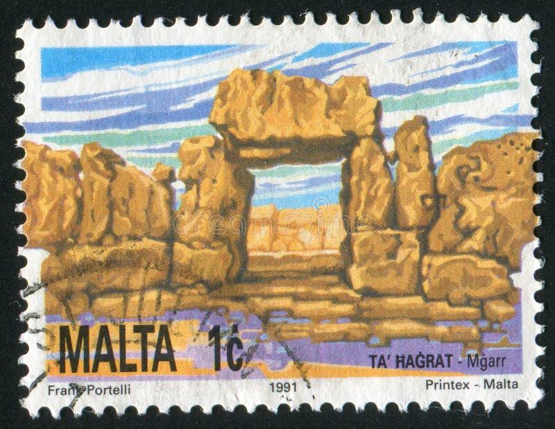 Postage stamp. MALTA - CIRCA 1991: Hagrat neolithic temples, circa 1991 stock photo