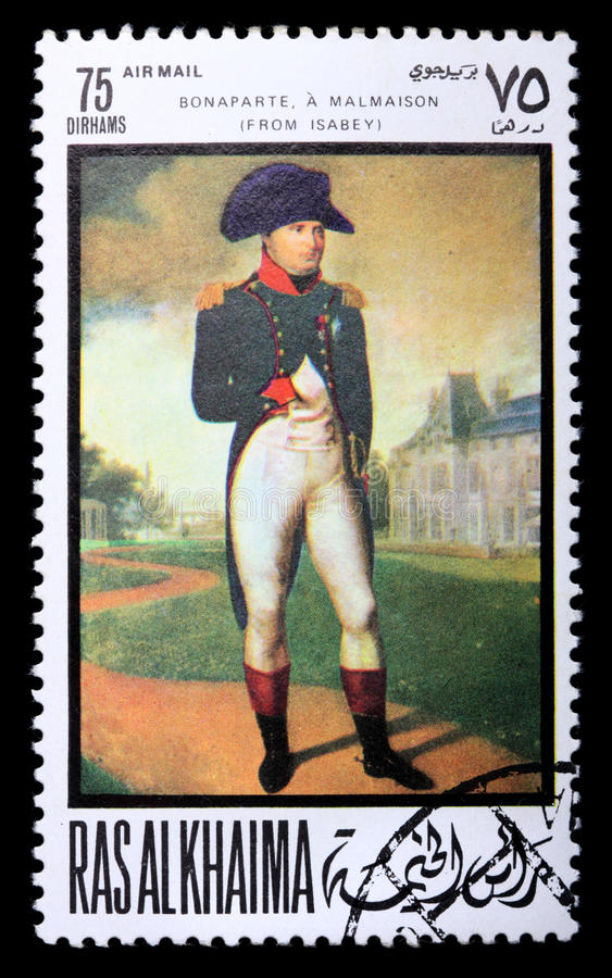 Postage stamp with Napoleon. RAS AL KHAIMA - CIRCA 1969: a stamp printed in Ras-Al-Khaima (UAE) shows a picture of artist Isabey Jean-Baptiste Napoleon in royalty free stock photo