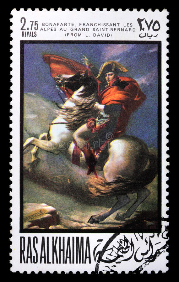 Postage stamp with Napoleon. RAS AL KHAIMA - CIRCA 1969: a stamp printed in Ras-Al-Khaima (UAE) shows Napoleon (painting by L. David), circa 1969. Isolated on royalty free stock images
