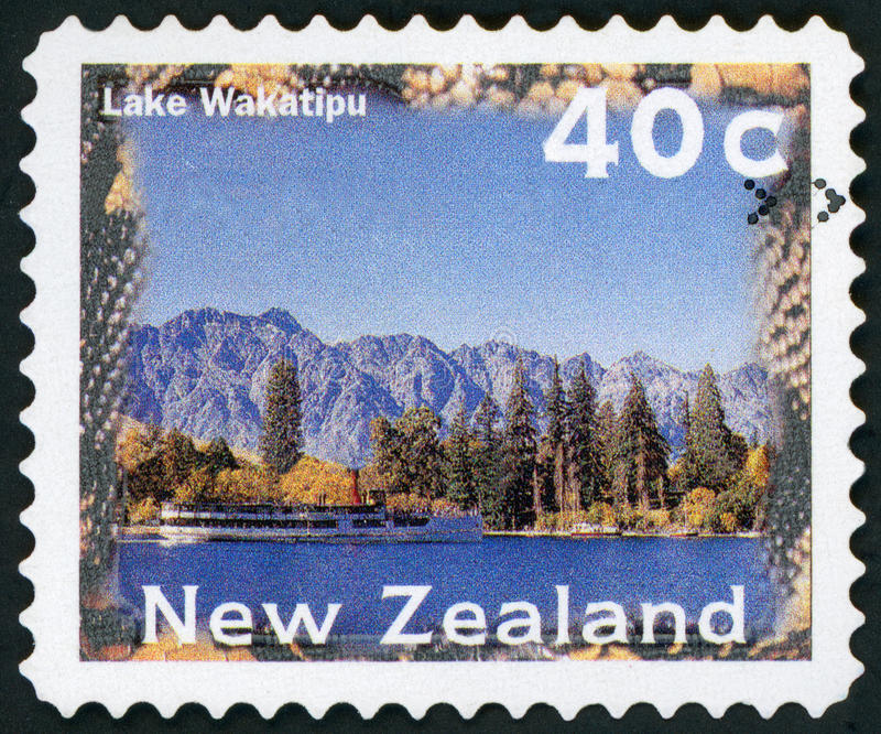 Postage stamp - New Zealand. Postage Stamp - Lake Wakatipu New Zealand royalty free stock image