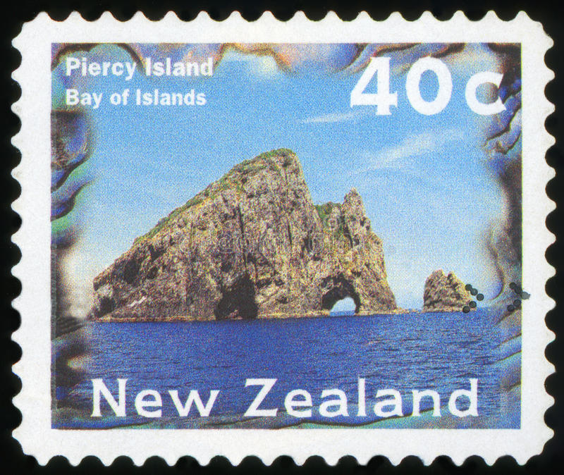 Postage stamp - New Zealand. Postage Stamp - Piercy Island Bay of Islands royalty free stock images