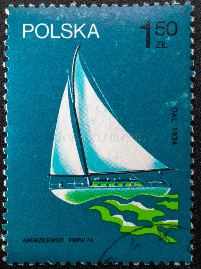 Postage Stamp. 1974. Poland. Pictures of ships royalty free stock photos