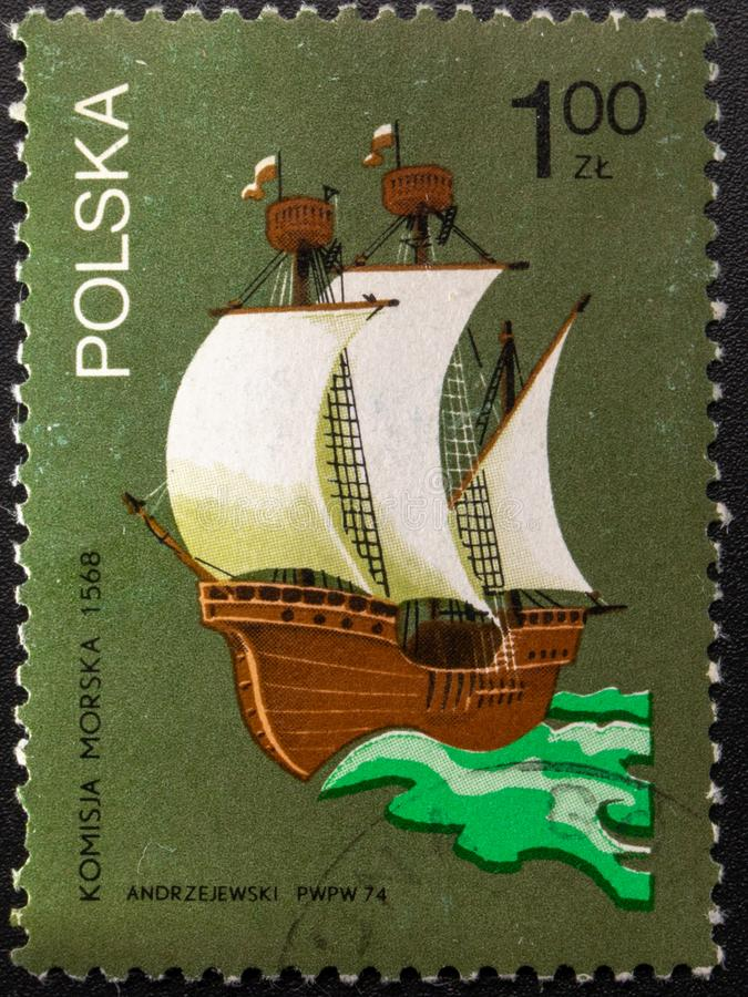 Postage Stamp. 1974. Poland. Pictures of ships royalty free stock photography