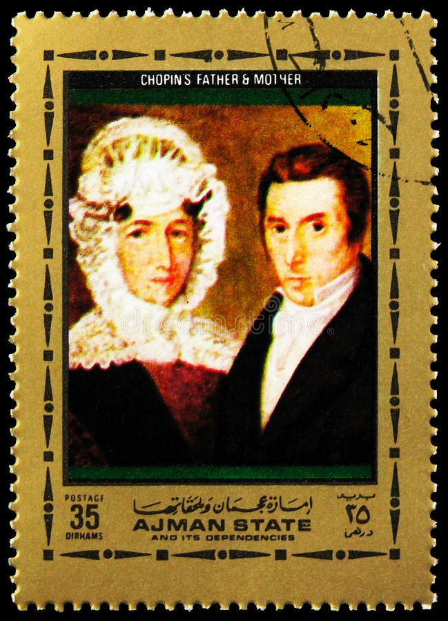 Postage stamp printed in Ajman State (United Arab Emirates) shows Chopins parents, Frédéric François Chopin serie, circa 1972. MOSCOW, RUSSIA royalty free stock photos