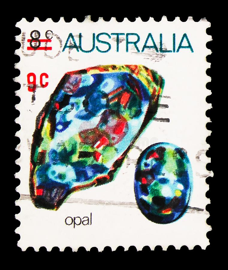 Postage stamp printed in Australia shows 9c On 8c Opal, 9 c - Australian cent, Marine animals and minerals serie, circa 1974. MOSCOW, RUSSIA - SEPTEMBER 27, 2019 stock photo