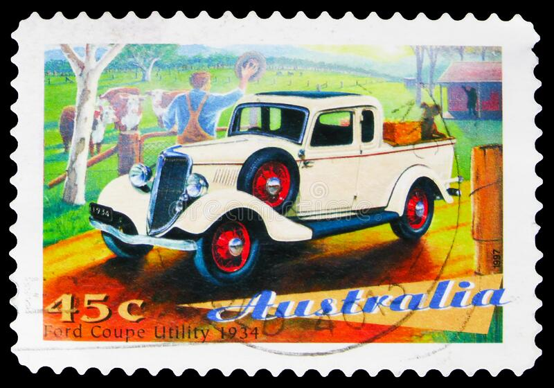 Postage stamp printed in Australia shows Ford Coupe utility 1934 model, Australia`s Classic Cars serie, circa 1997. MOSCOW, RUSSIA - OCTOBER 7, 2019: Postage royalty free stock images