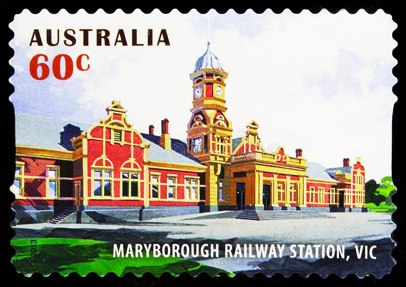 Postage stamp printed in Australia shows Maryborough, Victoria, Historic Railway Stations serie, circa 2013. MOSCOW, RUSSIA - SEPTEMBER 27, 2019: Postage stamp royalty free stock image