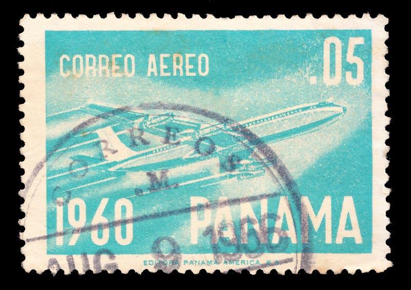 Postage stamp printed in Belgium, Panama, dedicated to domestic airmail. Circa 1960 stock image