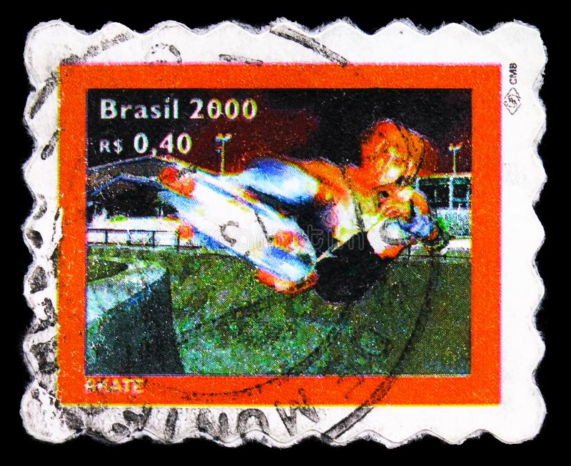 Postage stamp printed in Brazil shows Skateboarding, Outdoor Pursuits serie, 0.40 - Brazilian real, circa 2000 royalty free stock photography