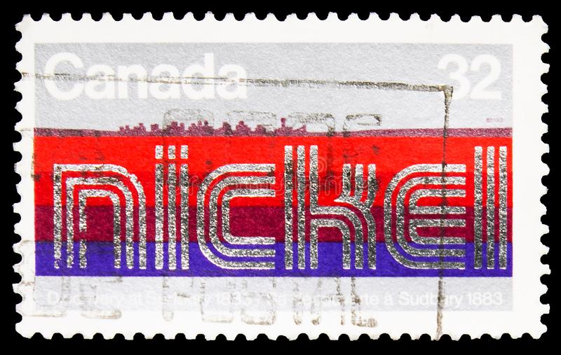 Postage stamp printed in Canada shows Discovery of Nickel, Centenary of Discovery of Sudbury Nickel Deposits serie, circa 1983. MOSCOW, RUSSIA - SEPTEMBER 27 stock photos