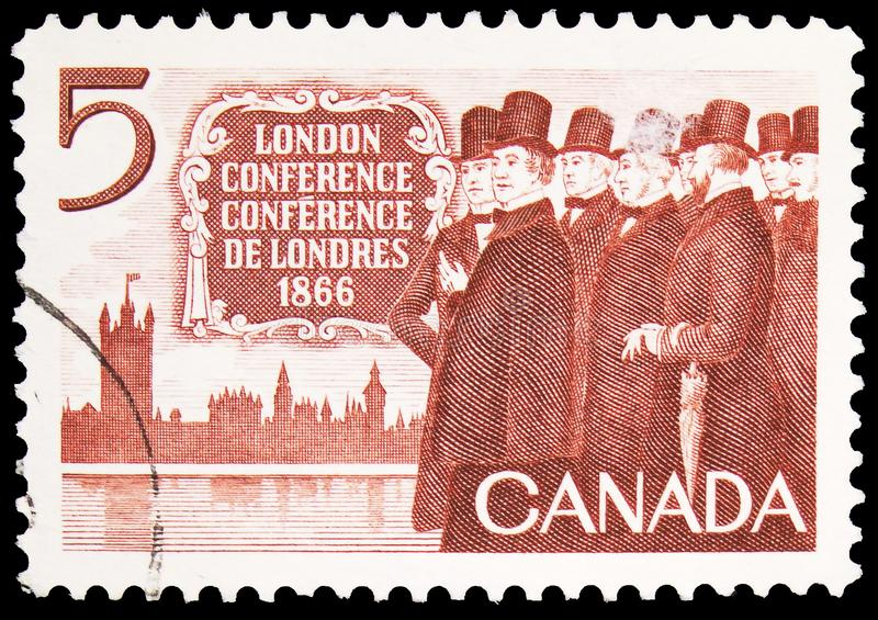 Postage stamp printed in Canada shows London Conference, 1866, serie, circa 1966. MOSCOW, RUSSIA - SEPTEMBER 30, 2019: Postage stamp printed in Canada shows stock photo