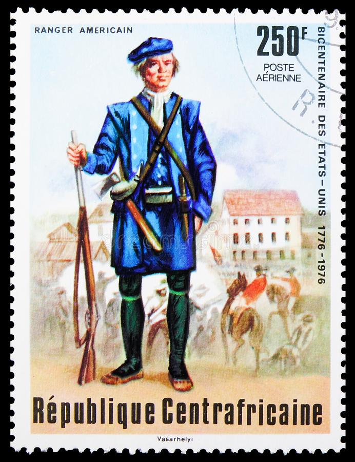 Postage stamp printed in Central African Republic shows American ranger, Bicentenary of the independence of the United States. MOSCOW, RUSSIA - OCTOBER 4, 2019 royalty free stock photos