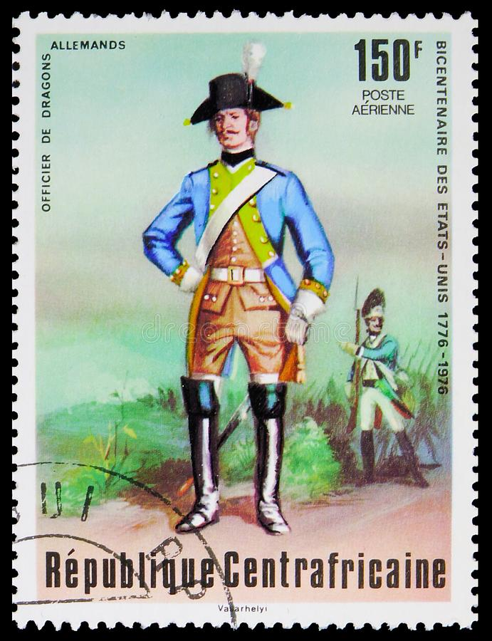 Postage stamp printed in Central African Republic shows German dragoon, Bicentenary of the independence of the United States serie. MOSCOW, RUSSIA - OCTOBER 4 royalty free stock photos