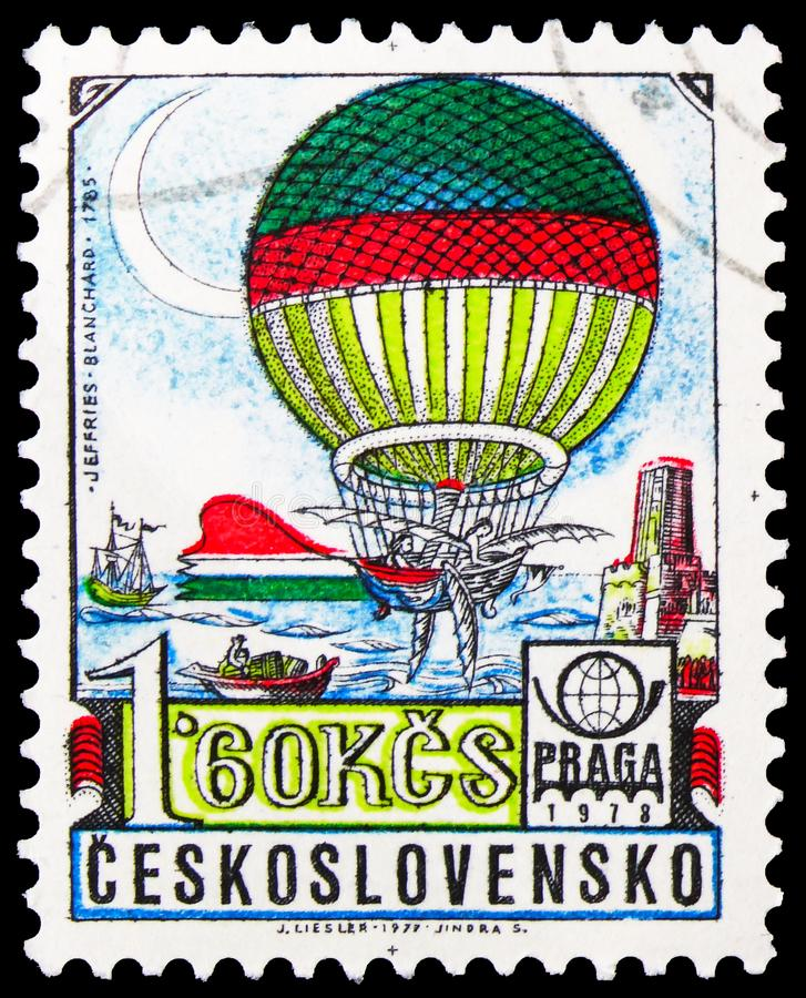 Postage stamp printed in Czechoslovakia shows Ballon (Blanchard 1785 ), History of Aviation serie, circa 1977. MOSCOW, RUSSIA - OCTOBER 1, 2019: Postage stamp royalty free stock image