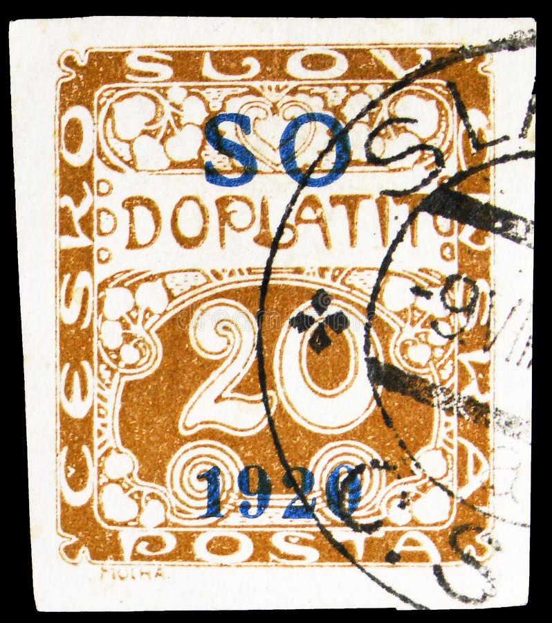 Postage stamp printed in Czechoslovakia shows Postage Due - overprint S O 1920, EASTERN SILESIA - Plebiscit serie, circa 1920. MOSCOW, RUSSIA - OCTOBER 1, 2019 royalty free stock photos