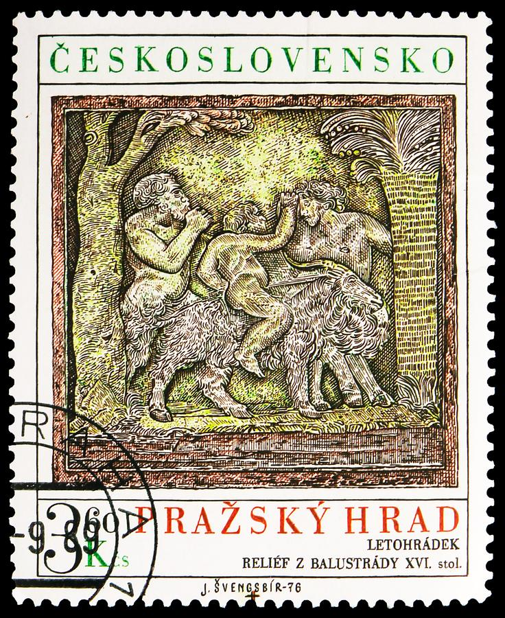Postage stamp printed in Czechoslovakia shows Faun and Satyr, sculptured panel, 16th century, Prague Castle serie, circa 1976. MOSCOW, RUSSIA - SEPTEMBER 30 stock images
