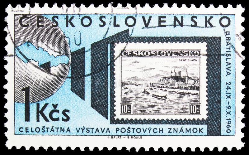 Postage stamp printed in Czechoslovakia shows Stamp, National stamp exhibition, Bratislava serie, circa 1960. MOSCOW, RUSSIA - OCTOBER 1, 2019: Postage stamp royalty free stock photo