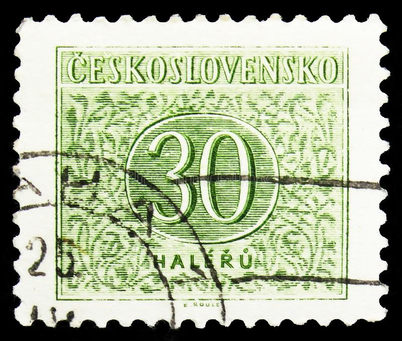 Postage stamp printed in Czechoslovakia shows New numbers drawing, Postage Due Stamps (1954-1963) serie, circa  1954. MOSCOW, RUSSIA - OCTOBER 1, 2019: Postage stock photography