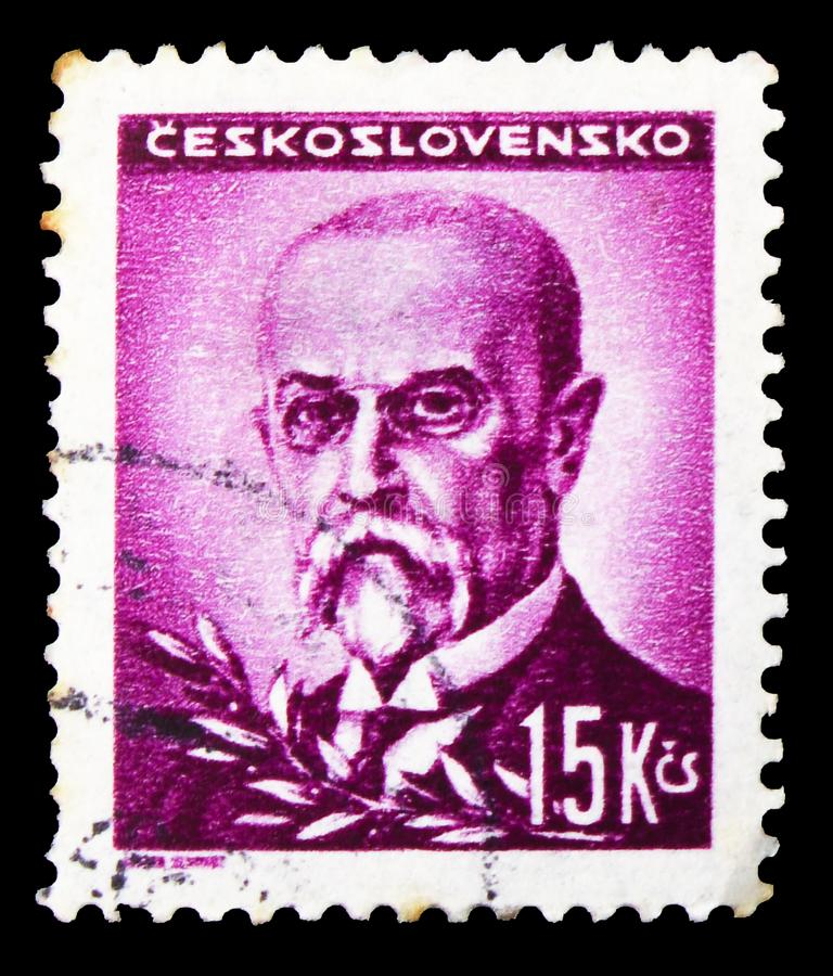 Postage stamp printed in Czechoslovakia shows Tomas Garrigue Masaryk (1850-1937), president, Portraits serie, circa 1945. MOSCOW, RUSSIA - OCTOBER 1, 2019 royalty free stock photos