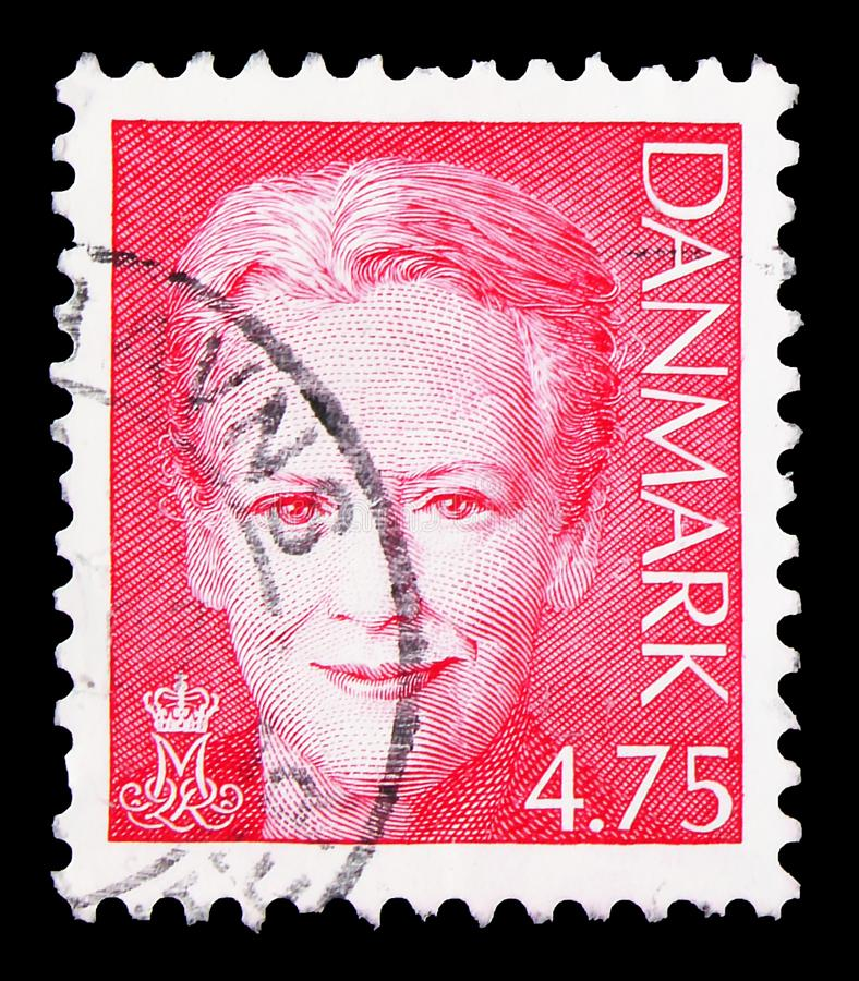 Postage stamp printed in Denmark shows Queen Margrethe II, 5 serie, circa 2005. MOSCOW, RUSSIA - SEPTEMBER 23, 2019: Postage stamp printed in Denmark shows Queen royalty free stock photos