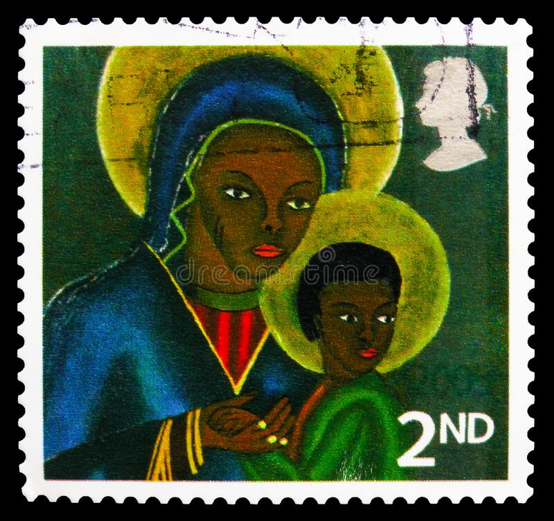 Free Postage Stamp Printed In United Kingdom Shows Black Madonna And Child From Haiti S/A, Christmas 2005 - Madonna And Child Paintings Royalty Free Stock Photos - 172798428