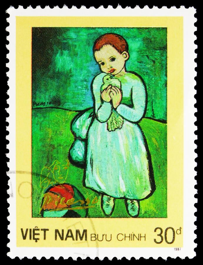 Free Postage Stamp Printed In Vietnam Shows Child Holding A Dove, Picasso Paintings Serie, Circa 1987 Royalty Free Stock Photography - 172798677