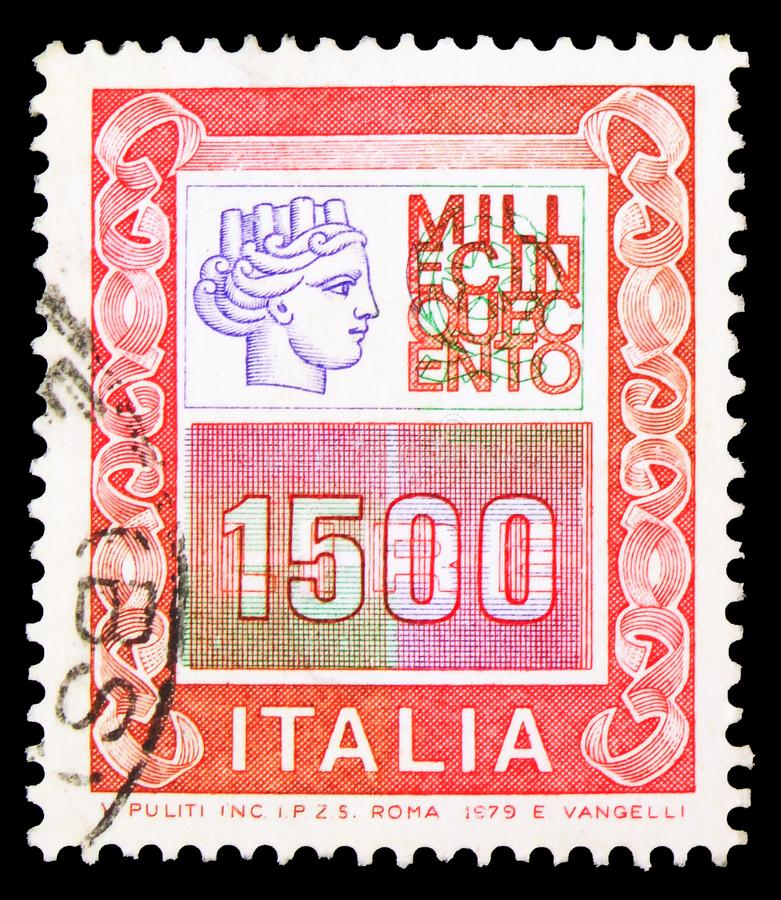 Postage stamp printed in Italy shows High Values, serie, circa 1979. MOSCOW, RUSSIA - SEPTEMBER 23, 2019: Postage stamp printed in Italy shows High Values, serie stock image