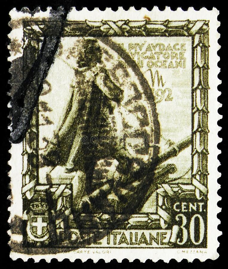 Postage stamp printed in Italy shows Proclamation of the Empire - Christopher Colombus,  serie, 30 Italian centesimo, circa 1938. MOSCOW, RUSSIA - OCTOBER 7 stock photo