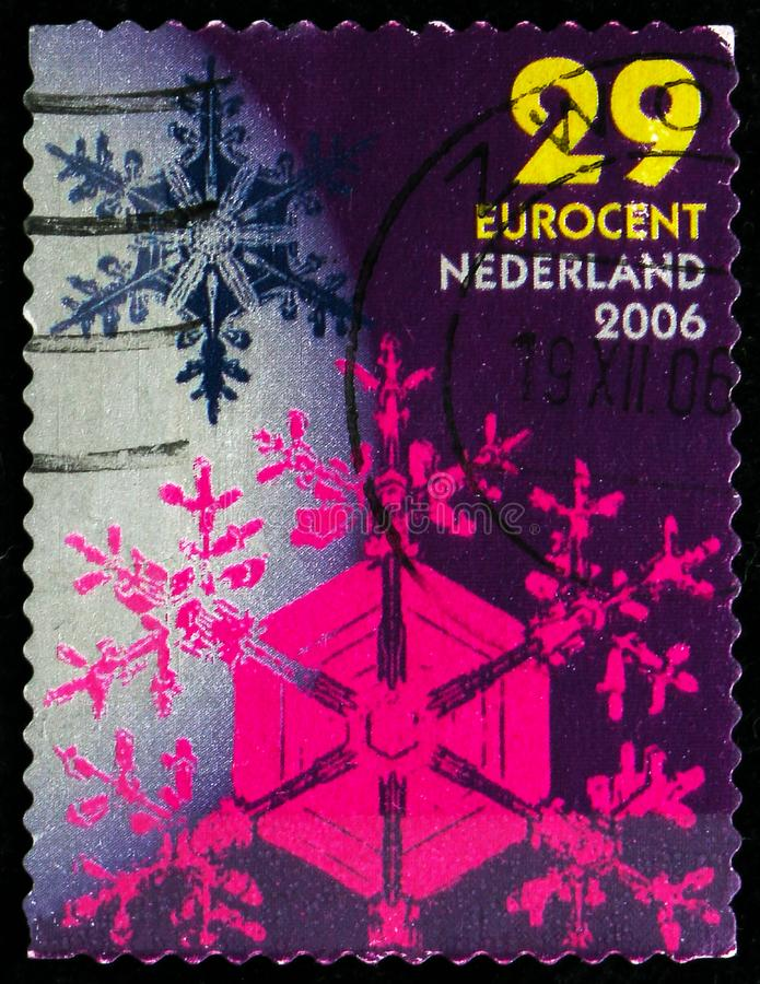 Postage stamp printed in Netherlands shows Snow Crystals, 29 ct - Euro cent, December Stamps serie, circa 2006 stock photo