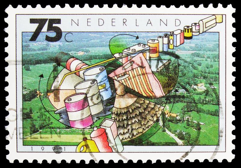 Postage stamp printed in Netherlands shows Soil pollution, Environment Protection serie, circa 1991 stock image