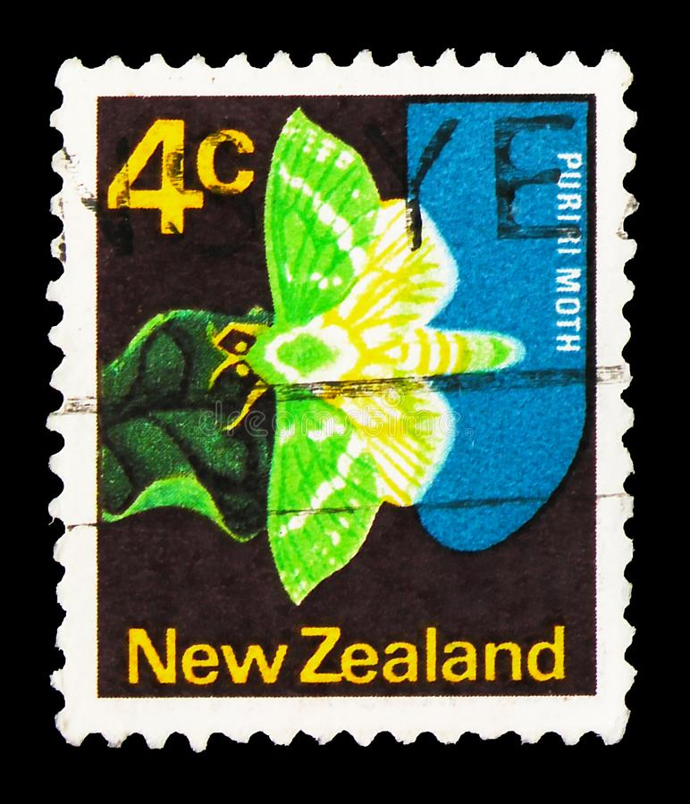 Postage stamp printed in New Zealand shows Great Ghost, Puriri moth (Hepialus virescens), Definitives serie, circa 1970. MOSCOW, RUSSIA - SEPTEMBER 27, 2019 royalty free stock photo