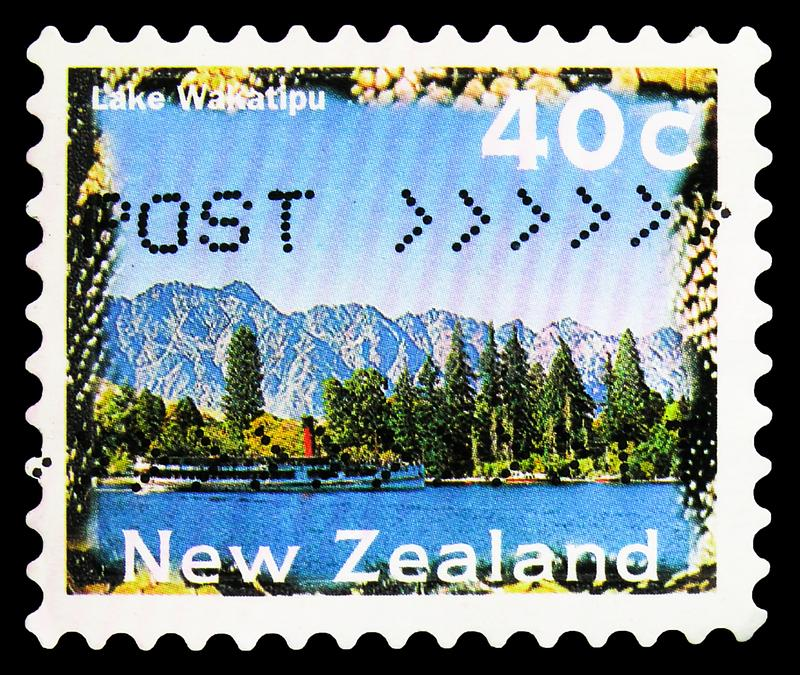 Postage stamp printed in New Zealand shows Lake Wakatipu, Scenery Definitives 1996-2004 serie, circa 1996. MOSCOW, RUSSIA - SEPTEMBER 27, 2019: Postage stamp stock images