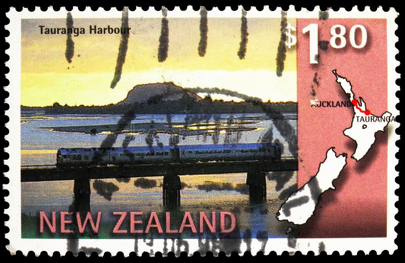 Postage stamp printed in New Zealand shows Tauranga Harbour, Scenic Railway Services serie, circa 1997. MOSCOW, RUSSIA - SEPTEMBER 27, 2019: Postage stamp stock image