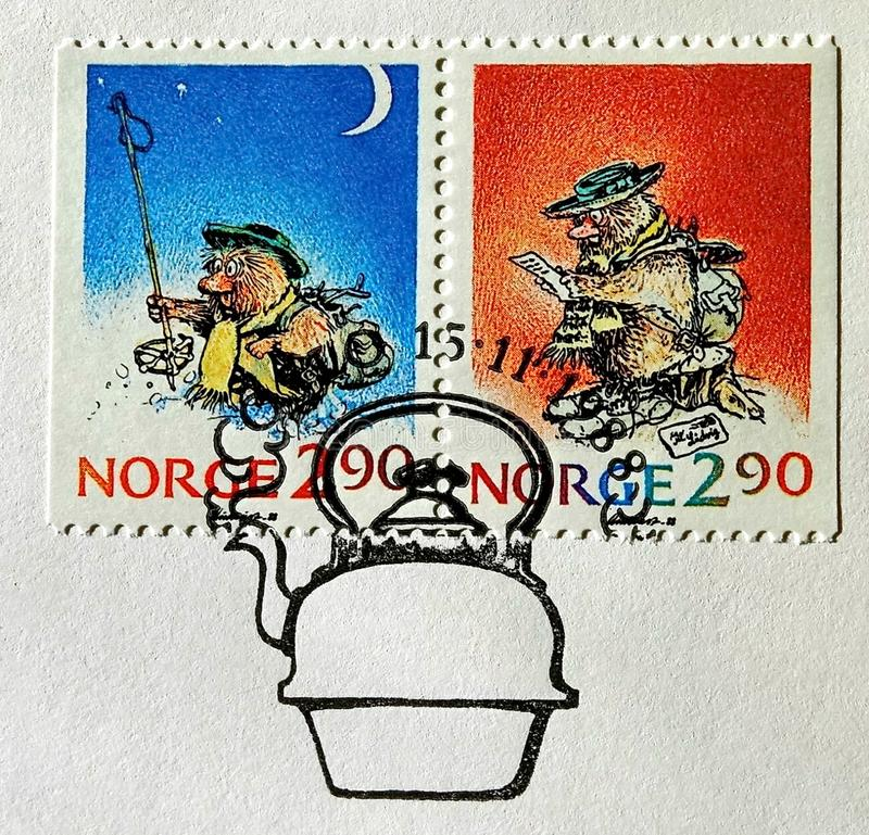 Postage stamp printed with of a picture Santa Claus which in Norway is are called gnome Yulenissen or Nisse. New year stock illustration