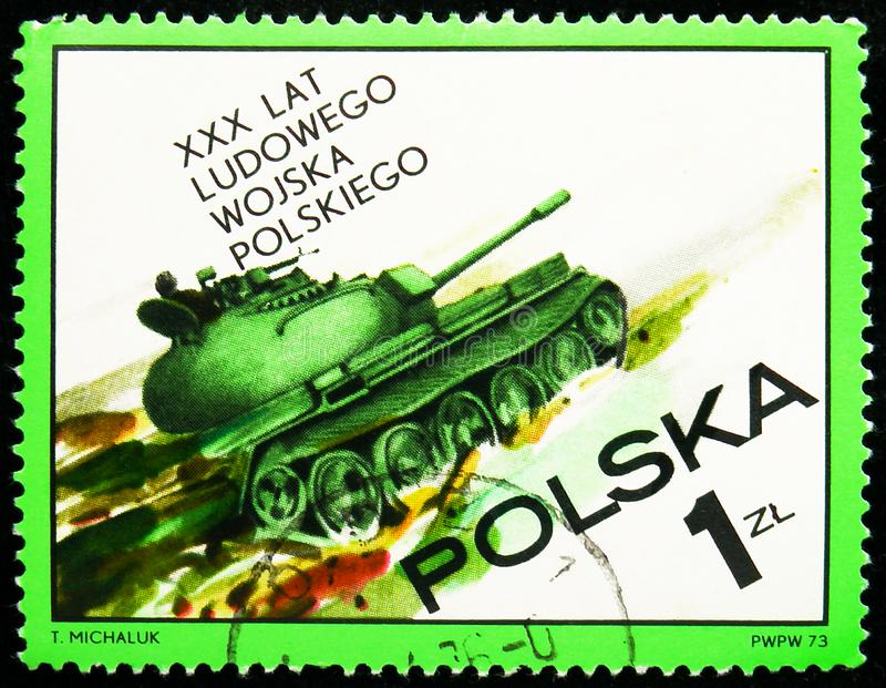 Postage stamp printed in Poland shows Tank, Polish People`s Army, 30th anniversary serie, circa 1973 stock images