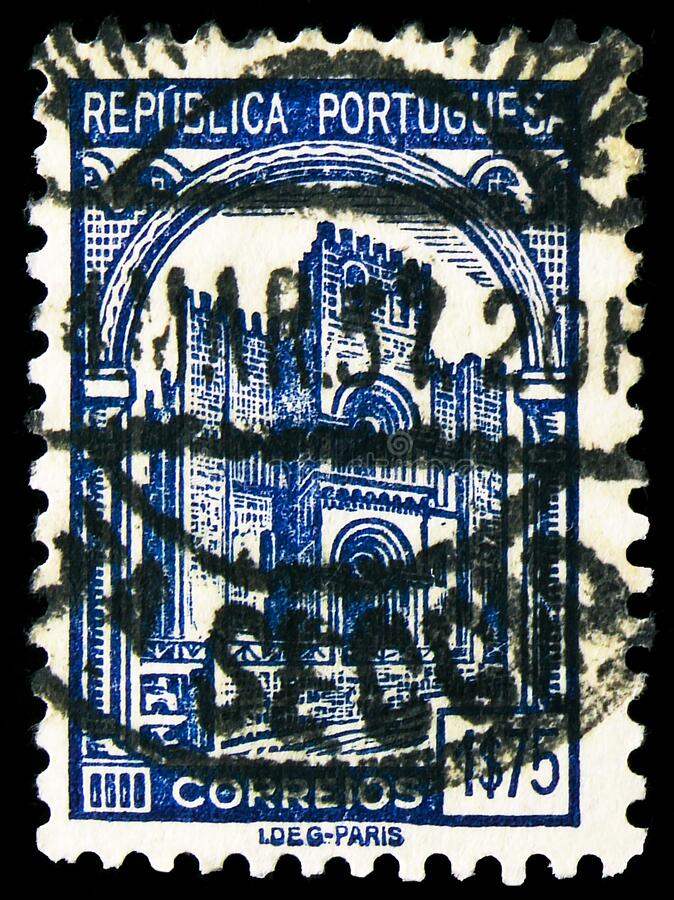 Postage stamp printed in Portugal shows Cathedral of Coimbra, serie, 1.75 - Portuguese escudo, circa 1935 royalty free stock image