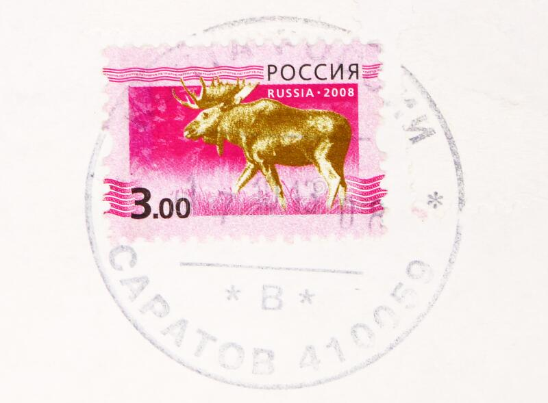 Postage stamp printed in Russia with stamp of Saratov shows Moose (Alces alces), 5th Definitive Issue of Russian Federation serie. MOSCOW, RUSSIA - MARCH 4, 2020 stock photo