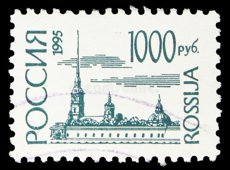 Postage stamp printed in Russia shows Peter and Pavel Fortress, St. Petersburg, 1st Definitive Issue of Russian Federation serie,. MOSCOW, RUSSIA - OCTOBER 8 royalty free stock photography