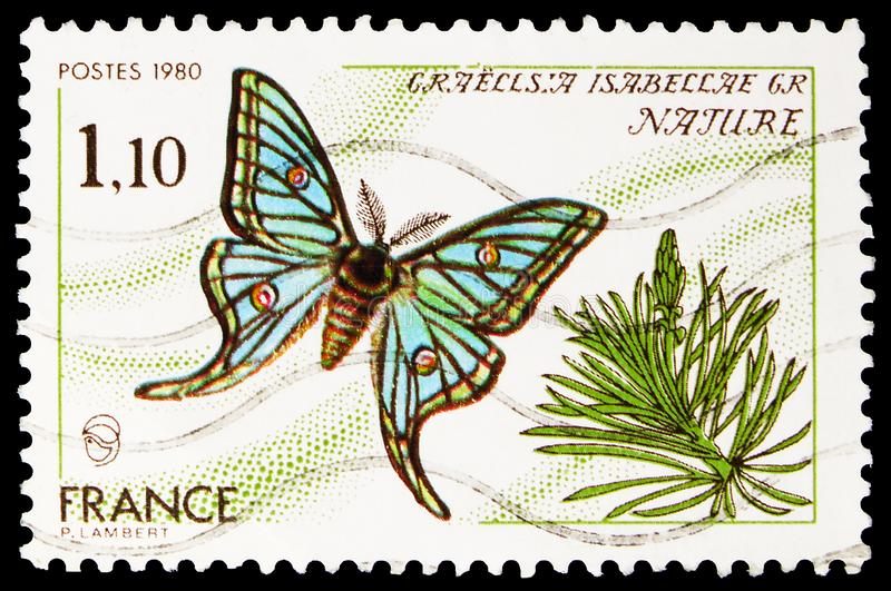 Postage stamp printed in shows Spanish Moon Moth (Graellsia isabellae), Nature protection serie, circa 1980 royalty free stock image